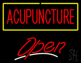 Red Acupuncture with Yellow Border Open LED Neon Sign