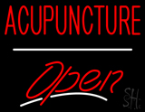 Red Acupuncture Open White Line LED Neon Sign
