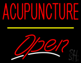 Red Acupuncture Open Yellow Line LED Neon Sign