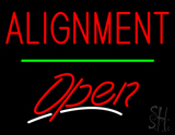 Red Alignment Open Green Line LED Neon Sign