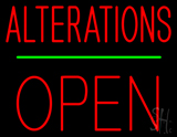 Red Alterations Block Open LED Neon Sign