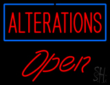 Red Alterations Blue Border Slant Open LED Neon Sign