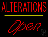 Red Alterations Yellow Line Open LED Neon Sign