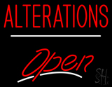 Red Alterations White Line Open LED Neon Sign