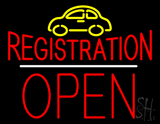 Auto Registration Open Block White Line LED Neon Sign