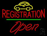 Auto Registration Open Green Line LED Neon Sign