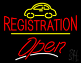 Auto Registration Open Yellow Line LED Neon Sign