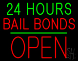 24 Hours Bail Bonds Block Open Green Line LED Neon Sign