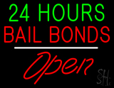24 Hours Bail Bonds Open White Line LED Neon Sign
