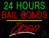 24 Hours Bail Bonds Open Yellow Line LED Neon Sign