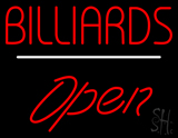 Billiards Block Open White Line Neon Sign