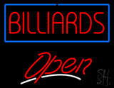 Billiards Blue Border Open Neon Sign