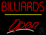 Billiards Open Yellow Line Neon Sign