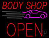 Red Body Shop Open Block LED Neon Sign
