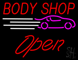 Red Body Shop Open Logo LED Neon Sign