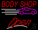 Red Body Shop Open LED Neon Sign