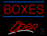 Red Boxes Double Line Open Neon Sign