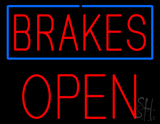 Brakes Blue Border Open Block LED Neon Sign