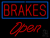 Brakes Blue Border Open LED Neon Sign