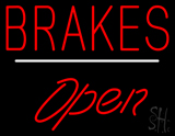 Brakes Open White Line LED Neon Sign