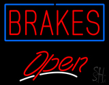 Red Brakes Blue Border Open LED Neon Sign