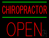 Red Chiropractor Green Lines Block Open LED Neon Sign