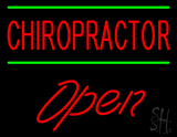 Red Chiropractor Green Lines Open LED Neon Sign
