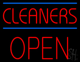 Red Cleaners Blue Lines Block Open LED Neon Sign