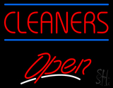 Red Cleaners Blue Lines Open LED Neon Sign