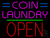 Coin Laundry Block Open Green Line LED Neon Sign