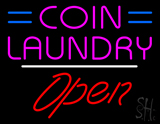 Coin Laundry Open White Line LED Neon Sign