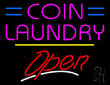 Coin Laundry Open Yellow Line LED Neon Sign