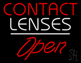 Red Contact Lenses Open White Line LED Neon Sign