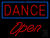 Red Dance Blue Border Open LED Neon Sign