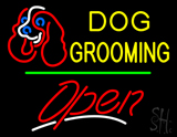 Dog Grooming Open Green Line LED Neon Sign