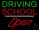 Driving School Open White Line LED Neon Sign