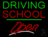 Driving School Open Green Line LED Neon Sign
