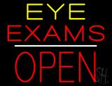 Eye Exams Block Open White Line LED Neon Sign