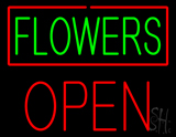 Green Flowers Red Border Open LED Neon Sign