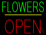 Flowers Block Open Yellow Line LED Neon Sign