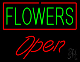Green Flowers Red Border Red Open LED Neon Sign