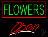 Green Flowers Open LED Neon Sign