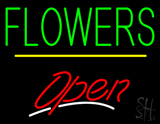 Green Block Flowers Yellow Line Red Open LED Neon Sign