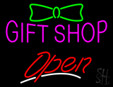 Gift Shop with Ribbon Logo Open LED Neon Sign