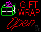Red Gift Wrap Open LED Neon Sign