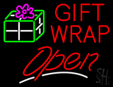 Red Gift Wrap Open with Logo LED Neon Sign