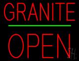 Granite Block Open Green Line LED Neon Sign