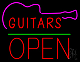 Guitars Block Open Green Line LED Neon Sign