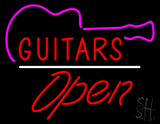 Guitars Open White Line LED Neon Sign