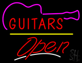 Guitars Open Yellow Line LED Neon Sign